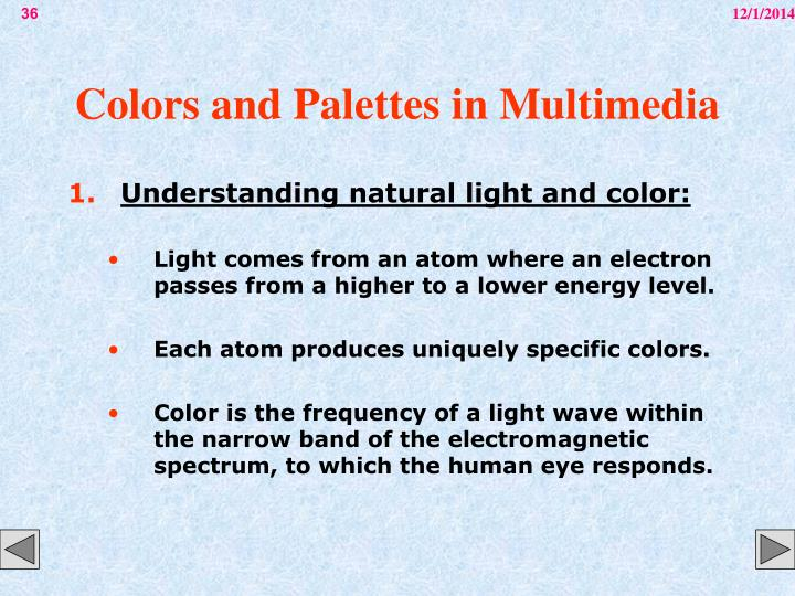 Colors and Palettes in Multimedia