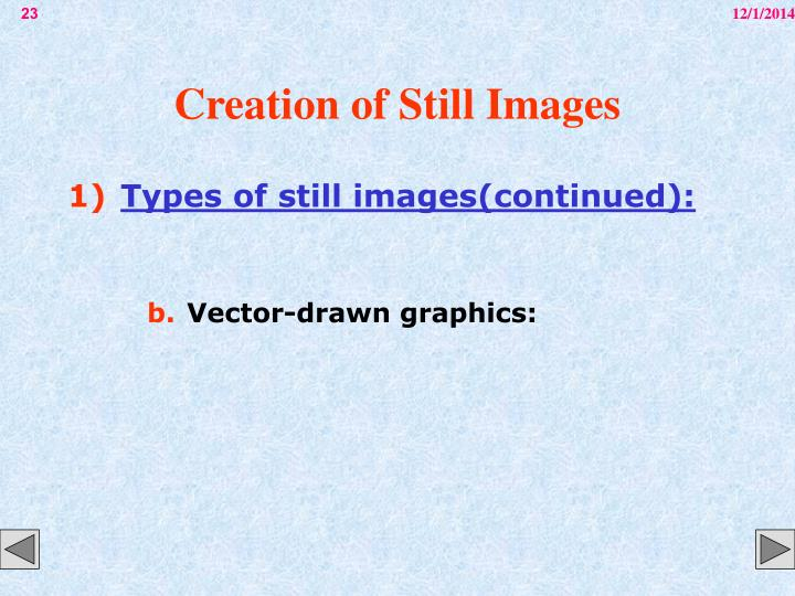 Creation of Still Images