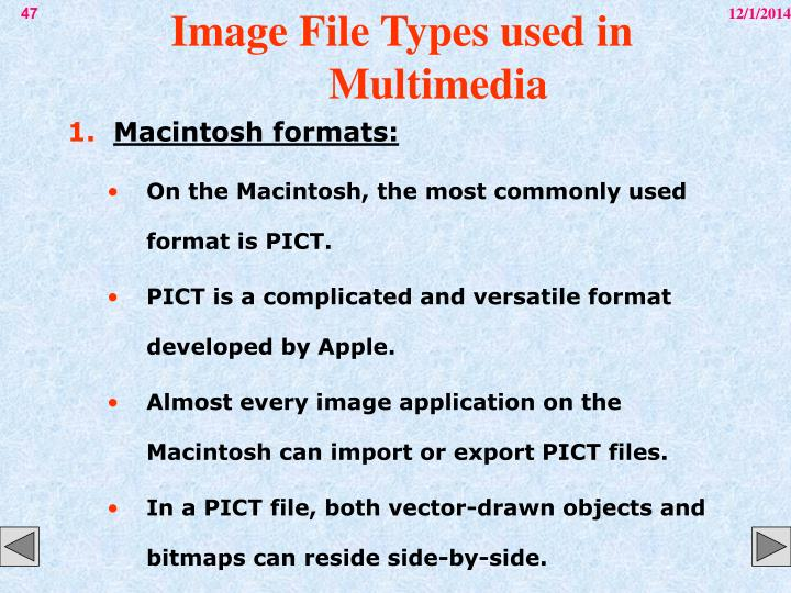 Image File Types used in Multimedia