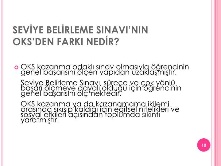 SEVİYE BELİRLEME SINAVI'NIN