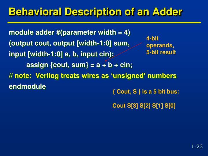 Behavioral Description of an Adder