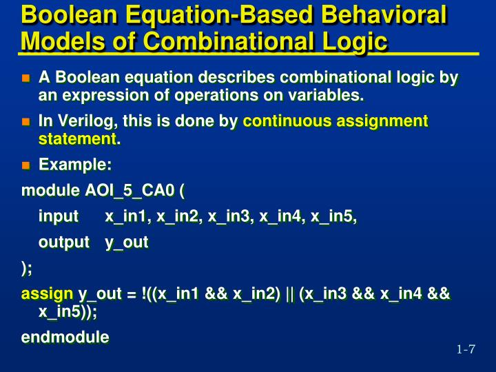 Boolean Equation-Based Behavioral Models of Combinational Logic