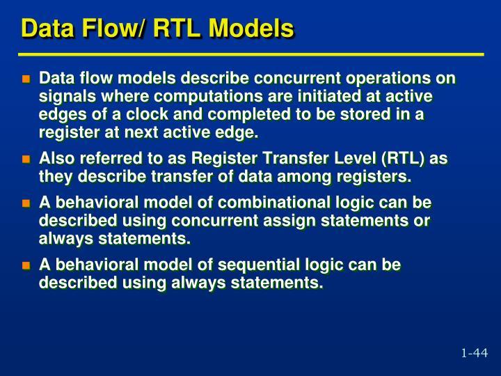 Data Flow/ RTL Models
