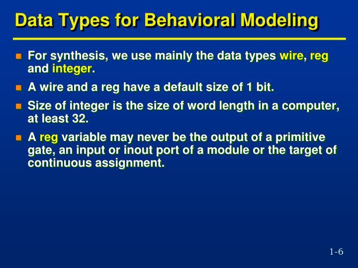 Data Types for Behavioral Modeling