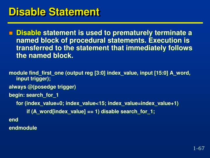 Disable Statement