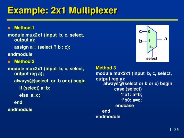 Example: 2x1 Multiplexer