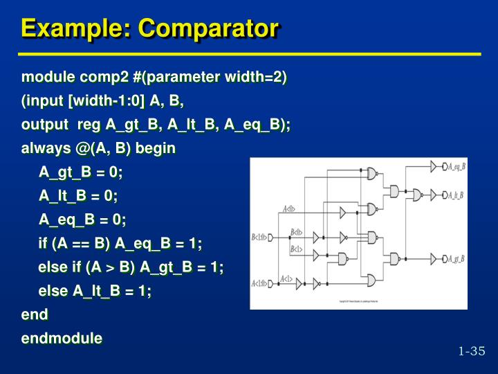 Example: Comparator