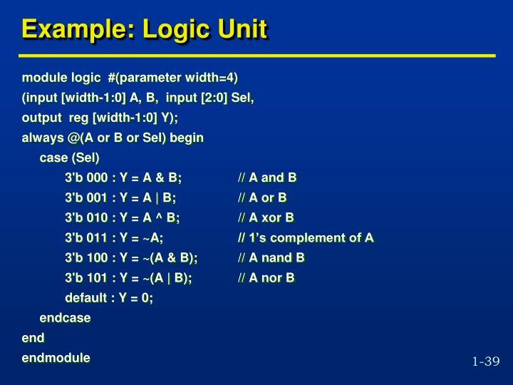 Example: Logic Unit