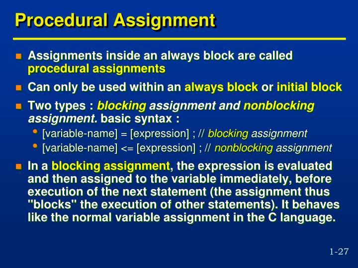 Procedural Assignment