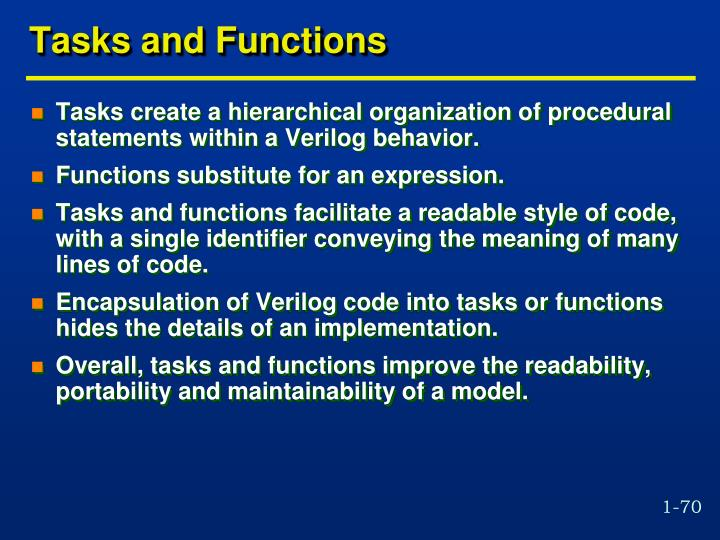 Tasks and Functions