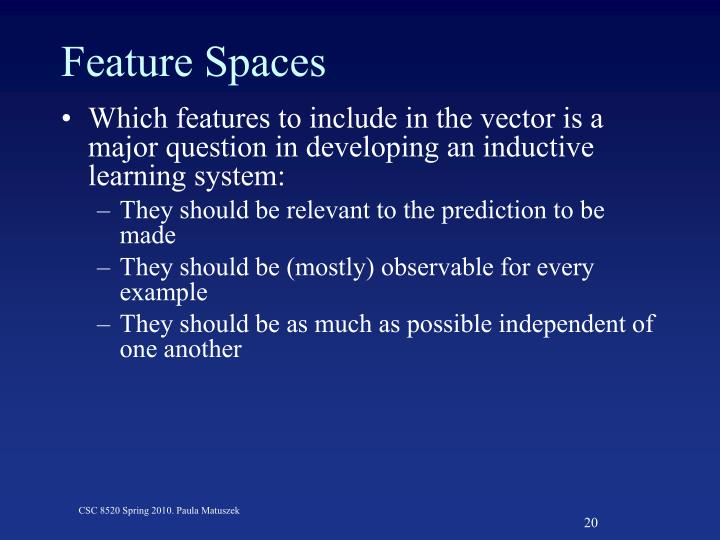 Feature Spaces