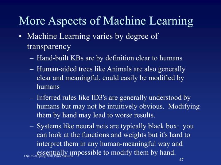 More Aspects of Machine Learning
