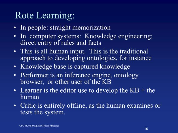 Rote Learning: