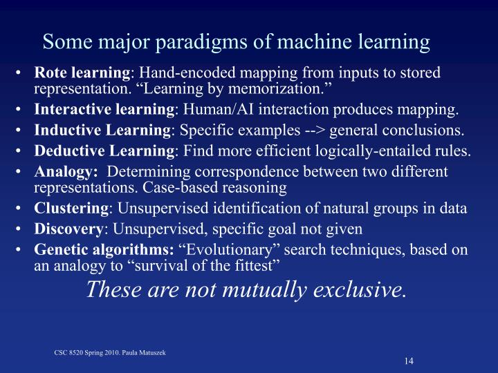Some major paradigms of machine learning