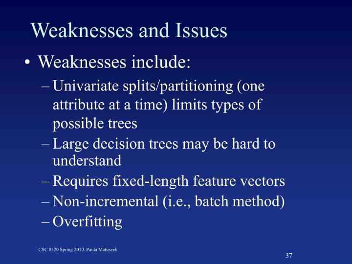 Weaknesses and Issues