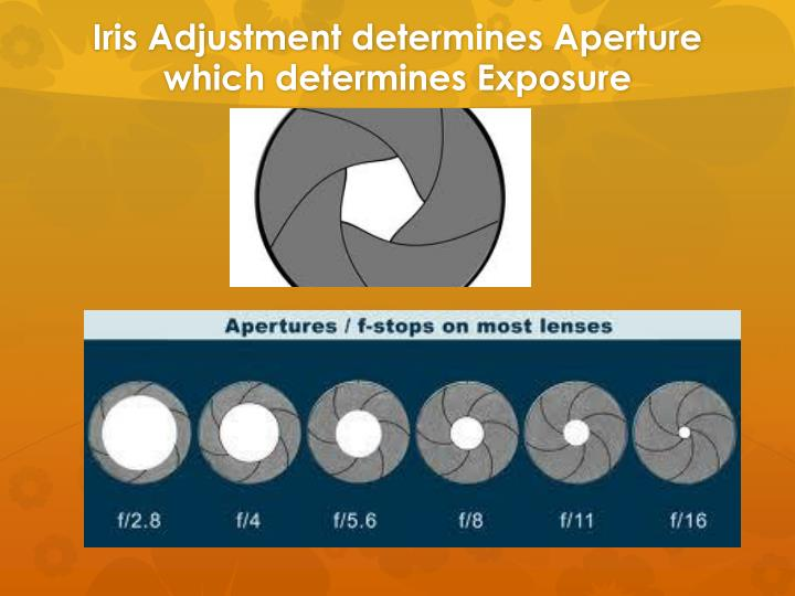 Iris Adjustment determines Aperture which determines Exposure