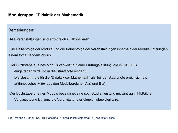 "Modulgruppe: ""Didaktik der Mathematik"