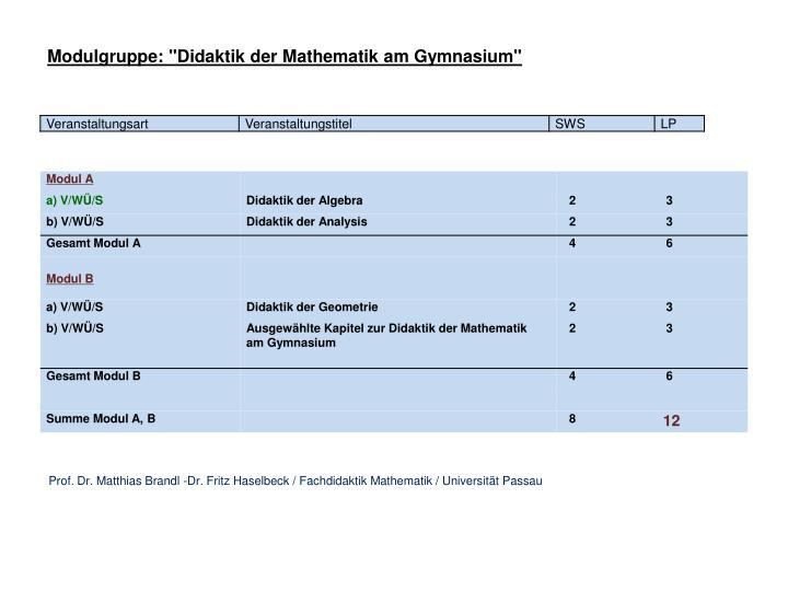 "Modulgruppe: ""Didaktik der Mathematik am Gymnasium"""