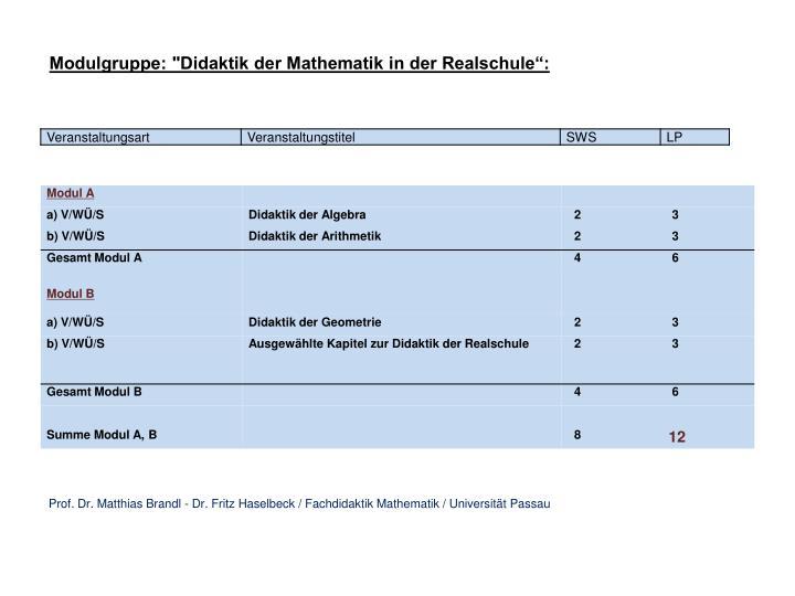 """Modulgruppe: """"Didaktik der Mathematik in der Realschule"""":"""
