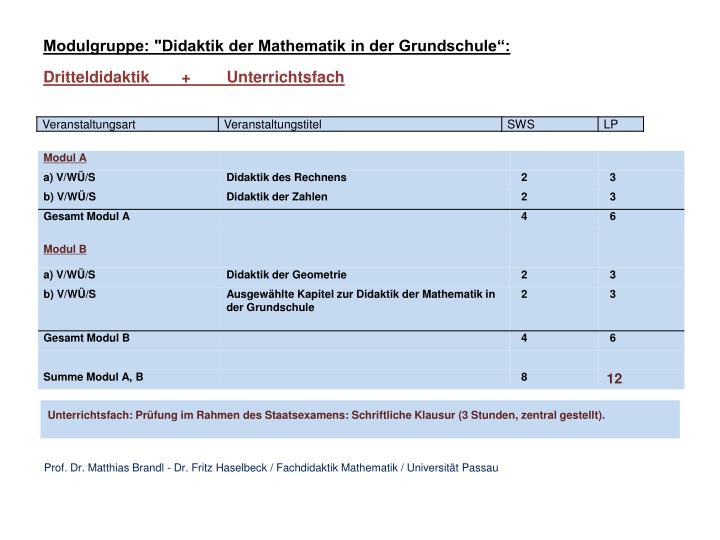 "Modulgruppe: ""Didaktik der Mathematik in der Grundschule"":"
