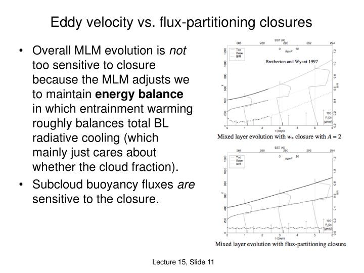 Eddy velocity vs. flux-partitioning closures