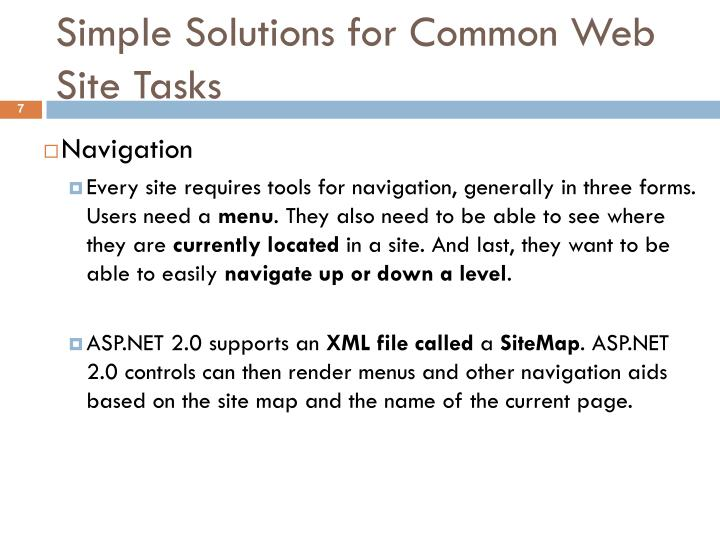 Simple Solutions for Common Web Site Tasks