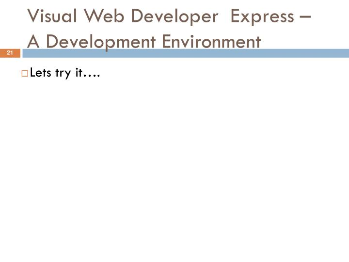 Visual Web Developer  Express –