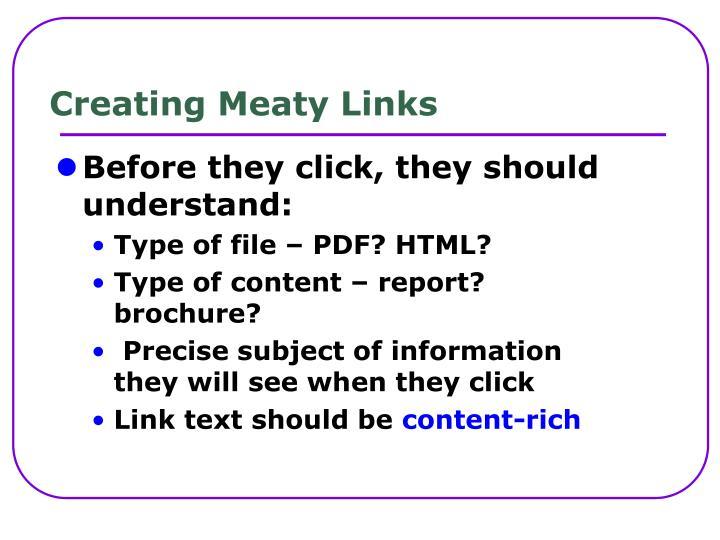 Creating Meaty Links