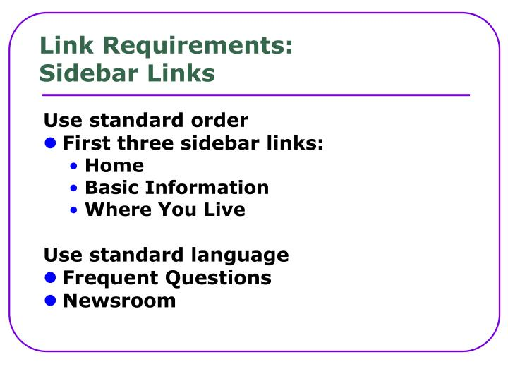 Link Requirements: