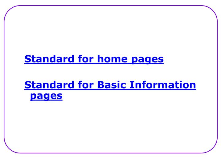 Standard for home pages