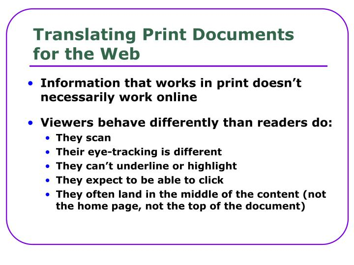 Translating Print Documents