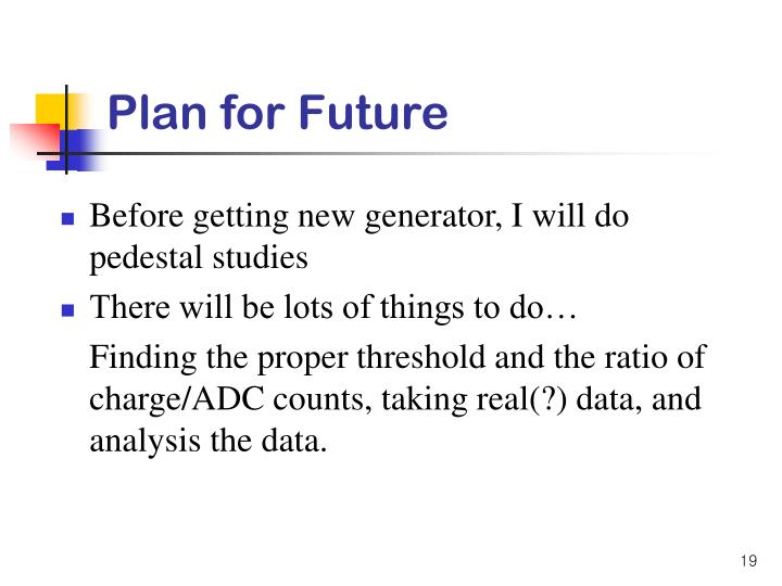 Plan for Future