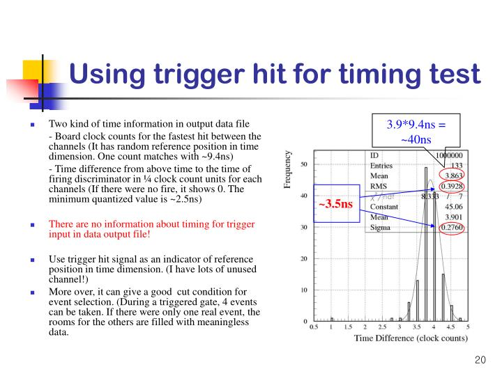 Using trigger hit for timing test