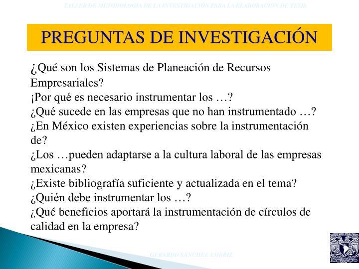 TALLER DE METODOLOGÍA DE LA INVESTIGACIÓN PARA LA ELABORACIÓN DE TESIS