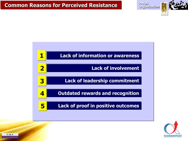 Common Reasons for Perceived Resistance