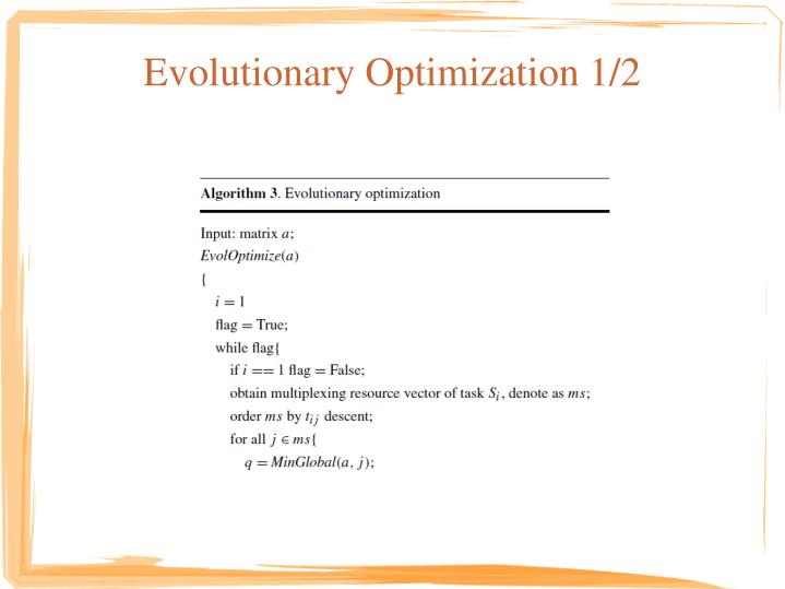 Evolutionary Optimization 1/2