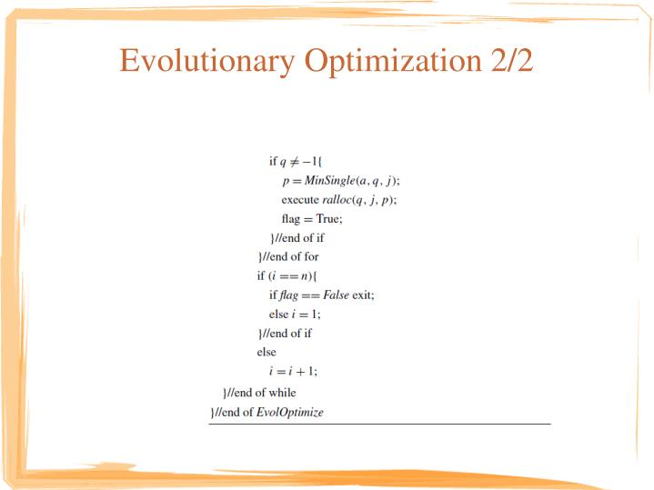 Evolutionary Optimization 2/2