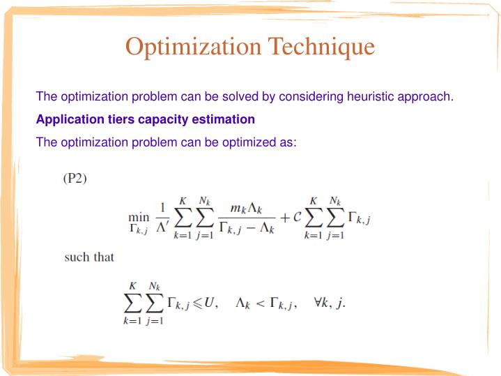 Optimization Technique