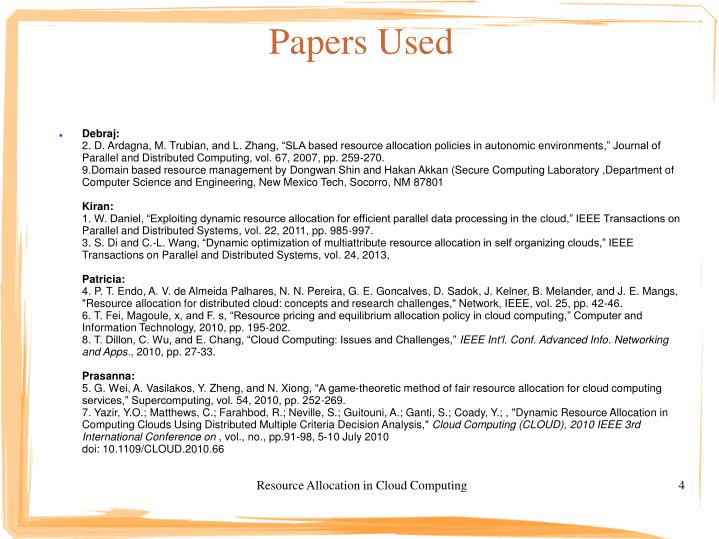 Papers Used