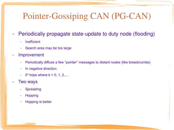 Pointer-Gossiping CAN (PG-CAN)