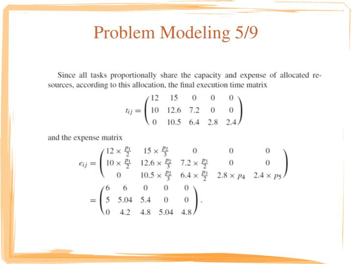 Problem Modeling 5/9