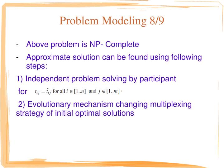 Problem Modeling 8/9