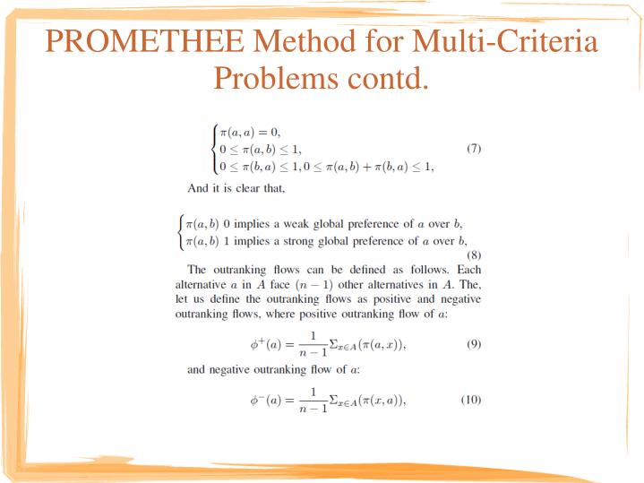 PROMETHEE Method for Multi-Criteria
