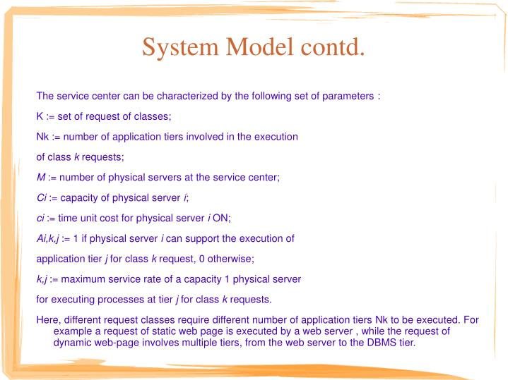 System Model contd.
