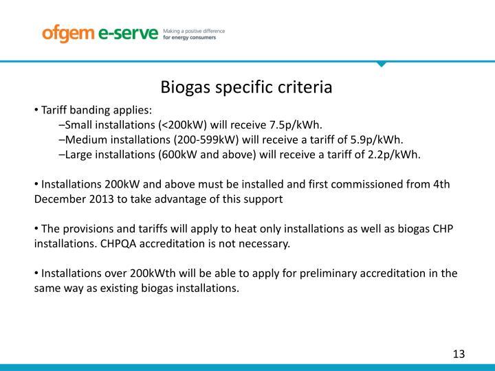 Biogas specific criteria