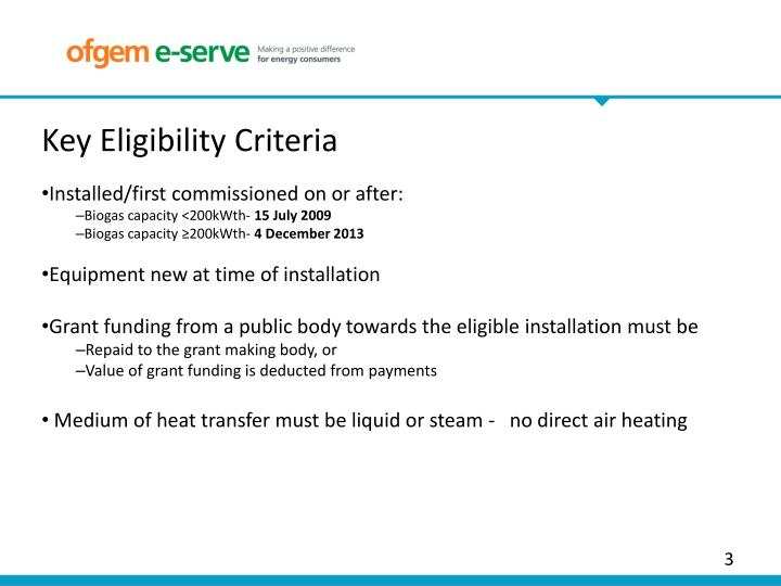 Key Eligibility Criteria