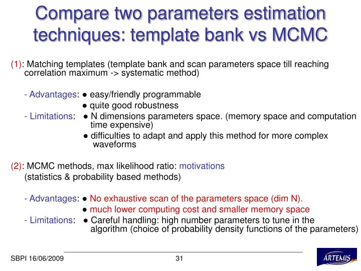 Compare two parameters estimation techniques: template bank vs MCMC