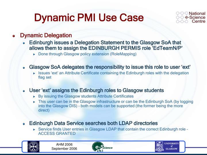 Dynamic PMI Use Case