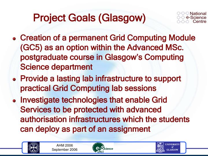 Project goals glasgow