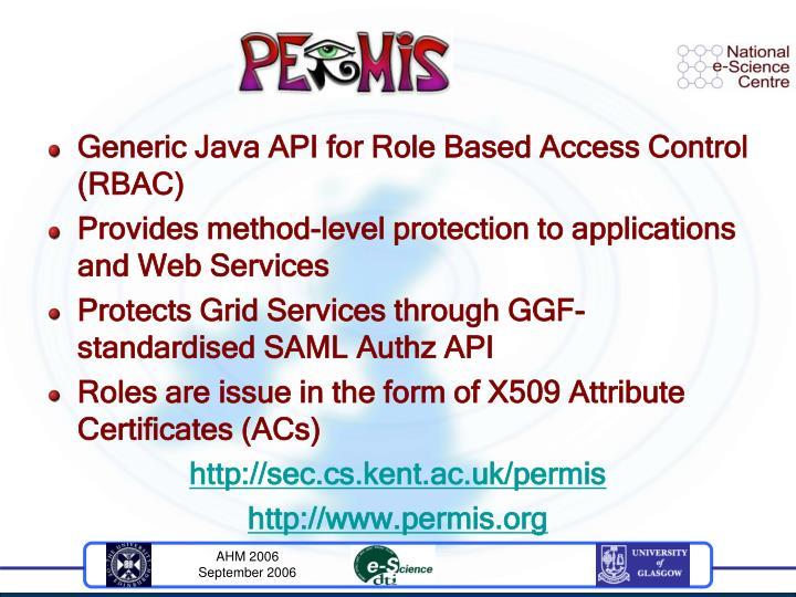 Generic Java API for Role Based Access Control (RBAC)
